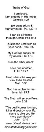 Truths of God - Back